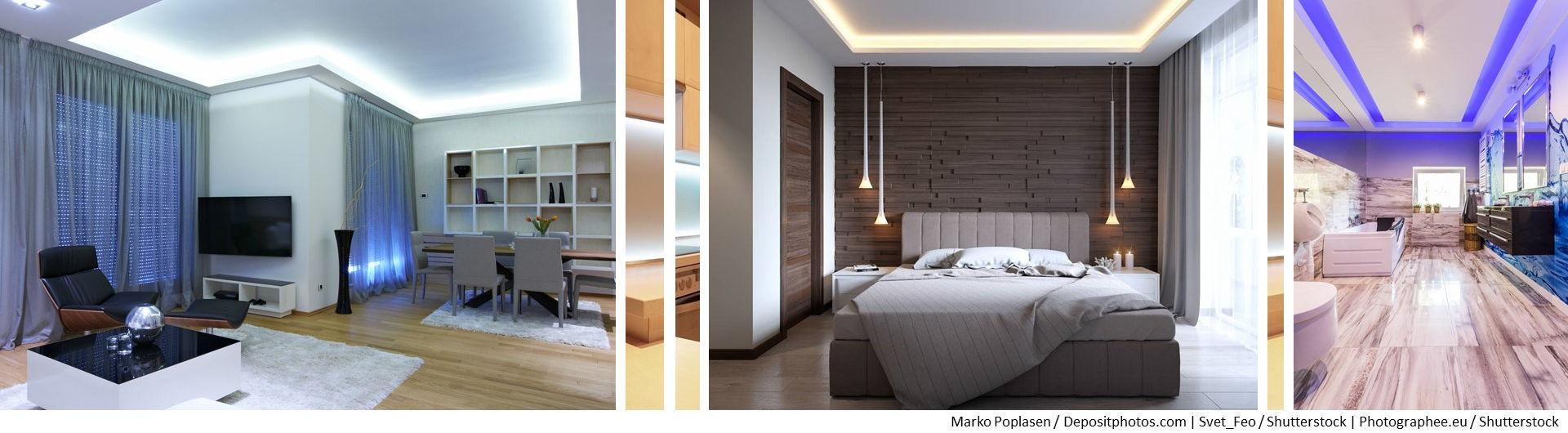 3 Beispielbilder für indirekte Beleuchtung in Wohnzimmer, Bad & Schlafzimmer
