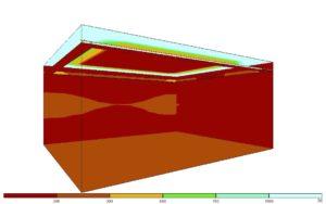 Lichtsimulation einer indirekten Beleuchtung mit umlaufender Voute und 45°-Stellung plus Sichtkante