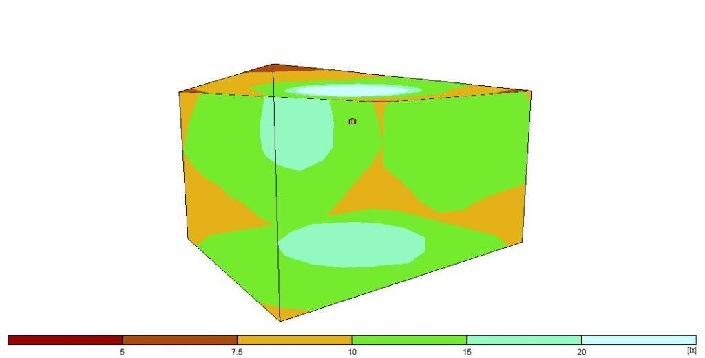Simulation in einem 20qm-Raum mit mittig positionierter 60W Glühlampe.