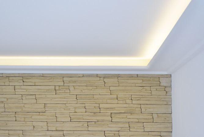 Indirekte Beleuchtung mit Gipskartonformteilen (Steckbausatz von GK-Formbau)