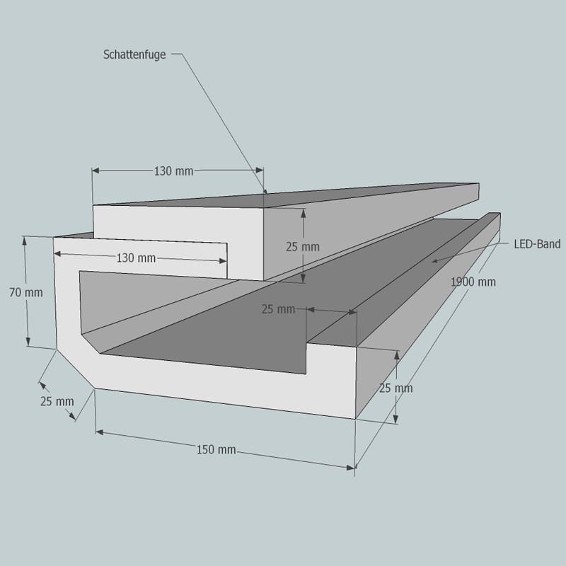 Lichtvoute Bella von GK-Formbau, Dimensionen