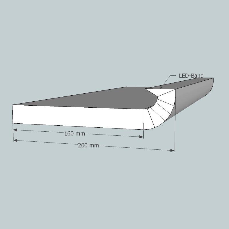 Lichtvoute Steckbausatz von GK-Formbau, Dimensionen Steckteil