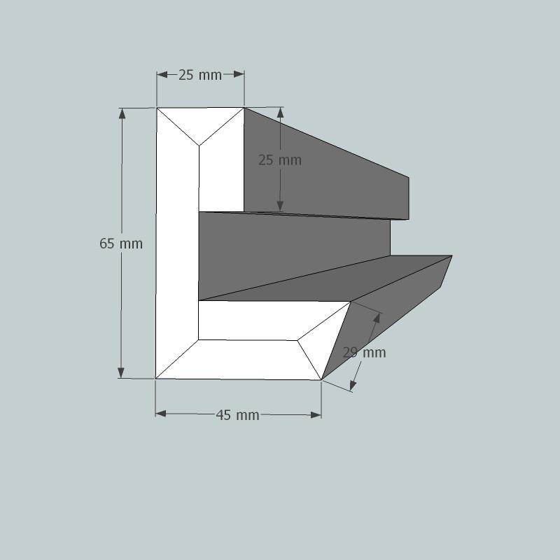 Lichtvoute Steckbausatz von GK-Formbau, Dimensionen Wandteil