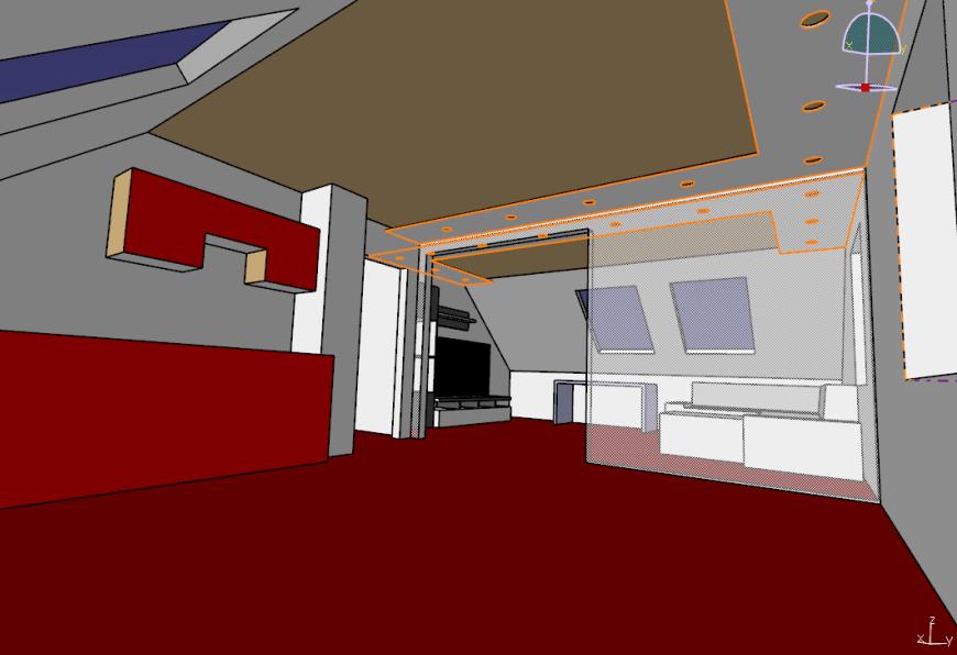 Indirekte Akzentbeleuchtung mit RGBW in Wohnzimmer & Küche, 3D-Simulation