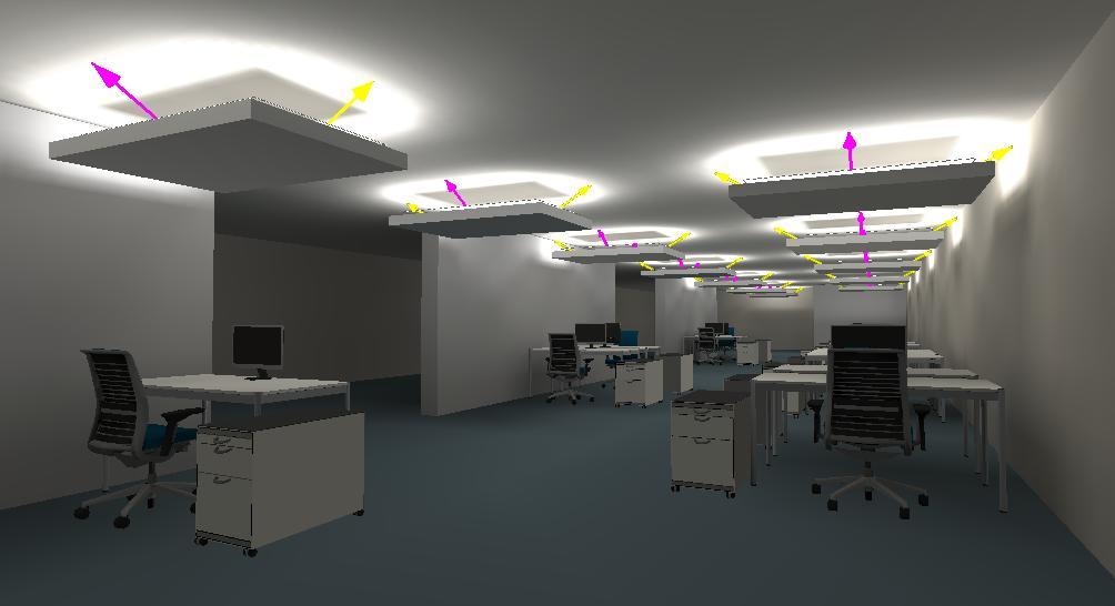Lichtplanung Großraumbüro mit Deckensegeln und indirekter LED Beleuchtung