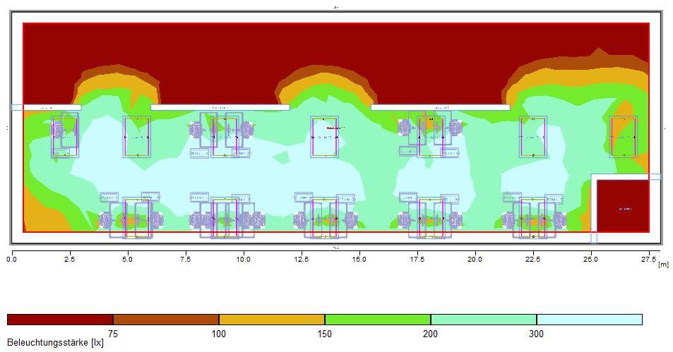 Lichtsimulation Großraumbüro mit indirekter Beleuchtung über Deckensegel